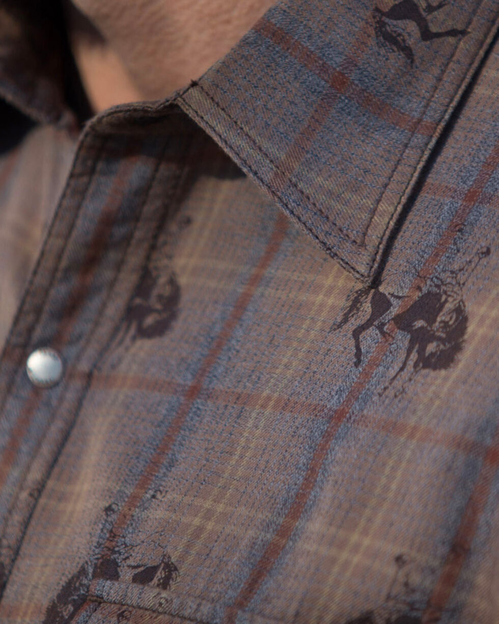 Ryan Michael Men's Brown Bucking Horse Ombre Plaid Shirt , Brown, hi-res
