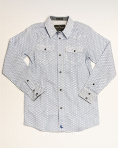 Cody James Boys' Arrow Dot Print Long Sleeve Western Shirt , White, hi-res