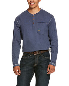 Ariat Men's Rebar Pocket Henley Long Sleeve Work Shirt - Big & Tall , Slate, hi-res