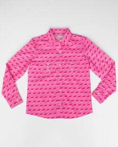Panhandle Girls' Pink Horse Print Snap Long Sleeve Shirt , Pink, hi-res