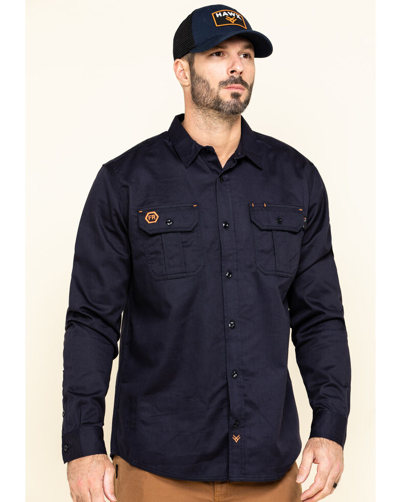 Hawx Men's Navy FR Long Sleeve Woven Work Shirt , Navy, hi-res