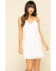 Molly Bracken Women's White Sequin Mini Dress , White, hi-res