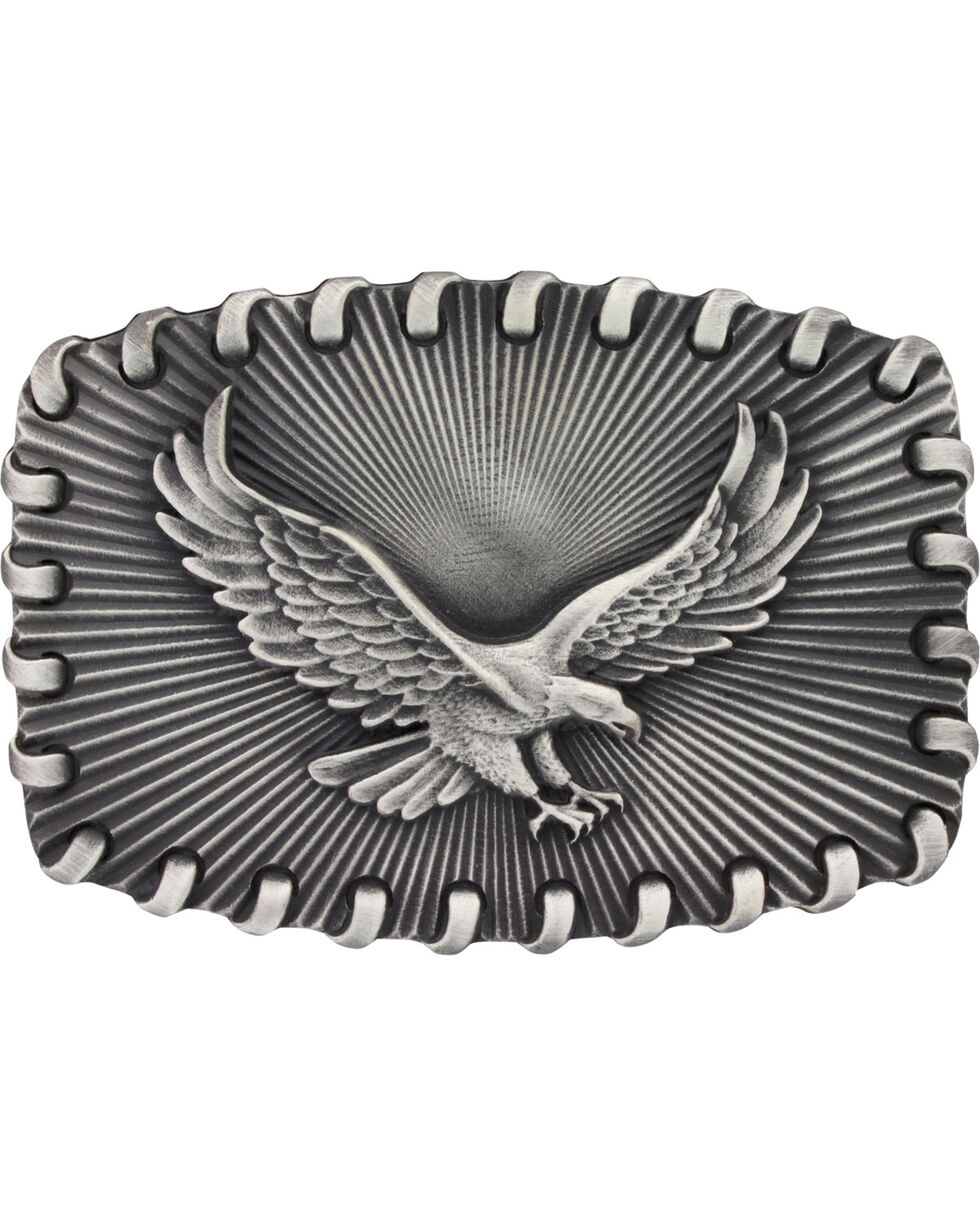 Montana Silversmiths Stitched Edge Radiating Golden Eagle Buckle, Silver, hi-res