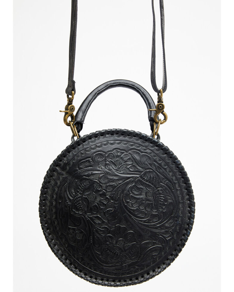 Juan Antonio Women's Tooled Round Snake Embossed Bag, Black, hi-res