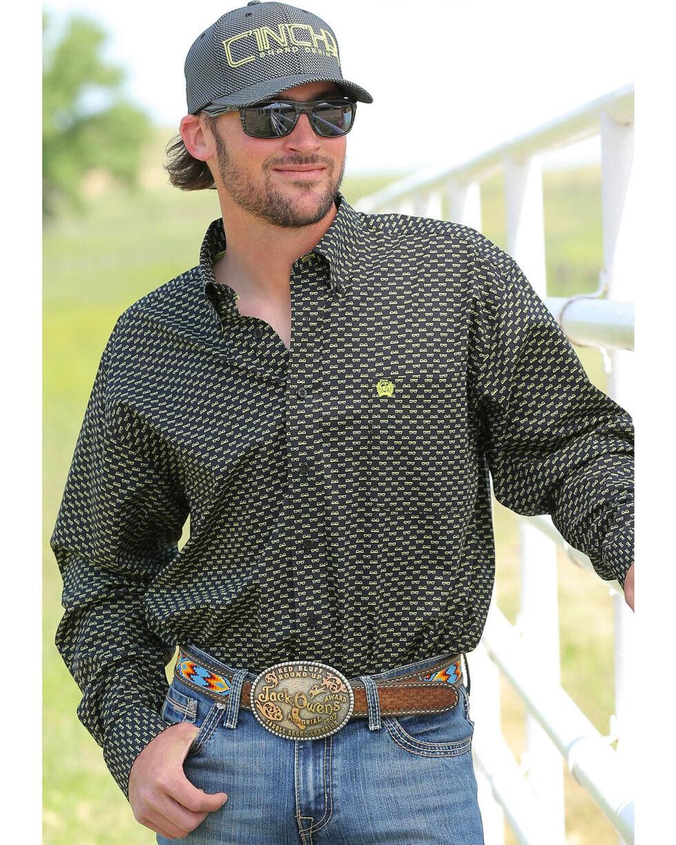 Cinch Men's Printed Button Down Long Sleeve Shirt, Black, hi-res