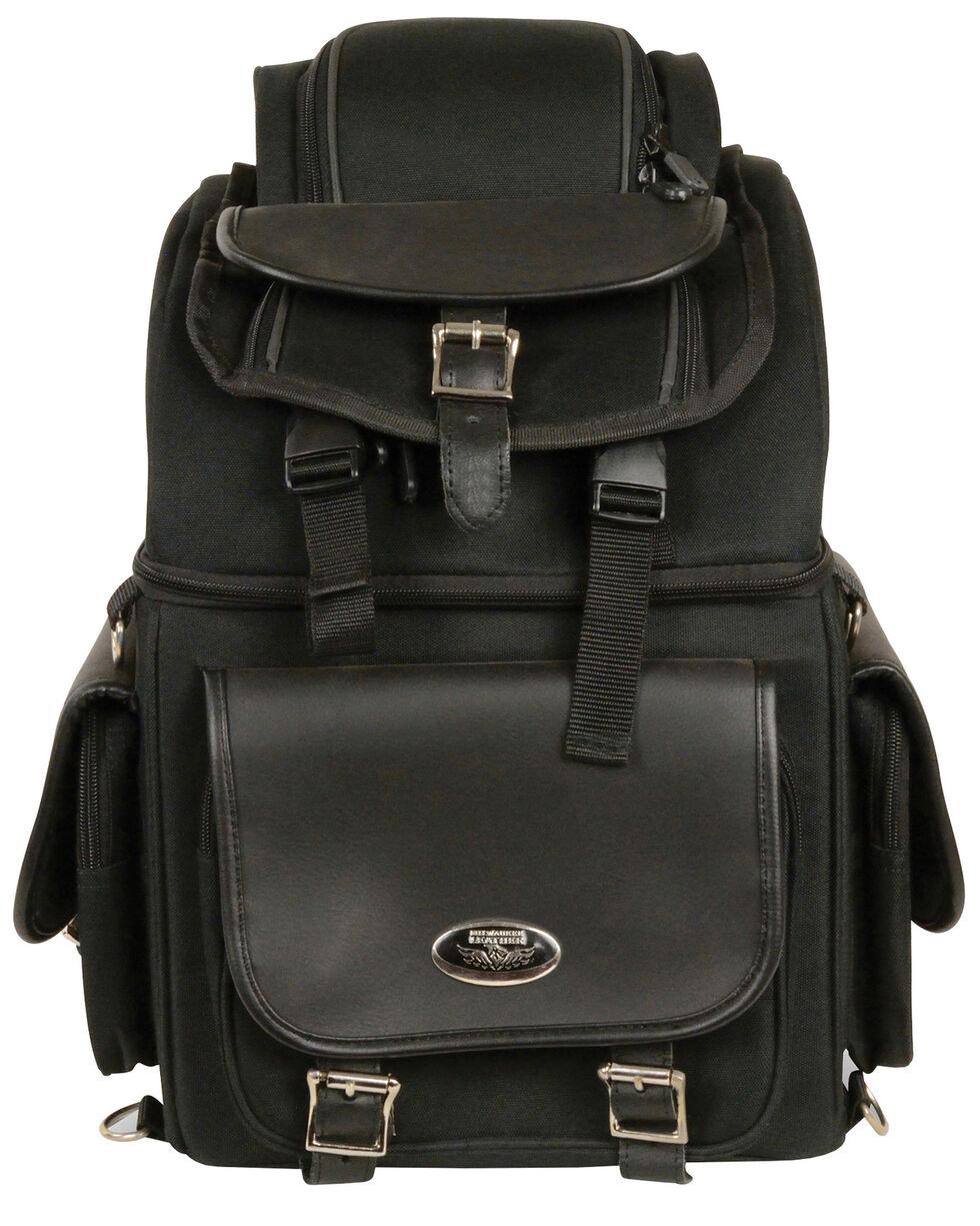 Milwaukee Leather Black Textile Back Seat Sissy Bar Bag , Black, hi-res
