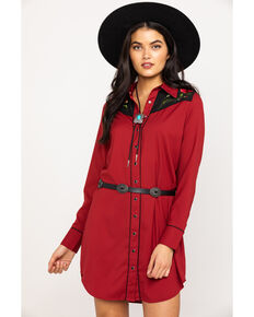 Roper Women's Rose Embroidered Vintage Shirt Dress , Red, hi-res