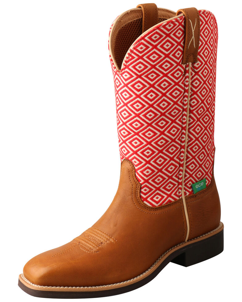 Twisted X Women's Top Hand Western Boots - Wide Square Toe, Cognac, hi-res