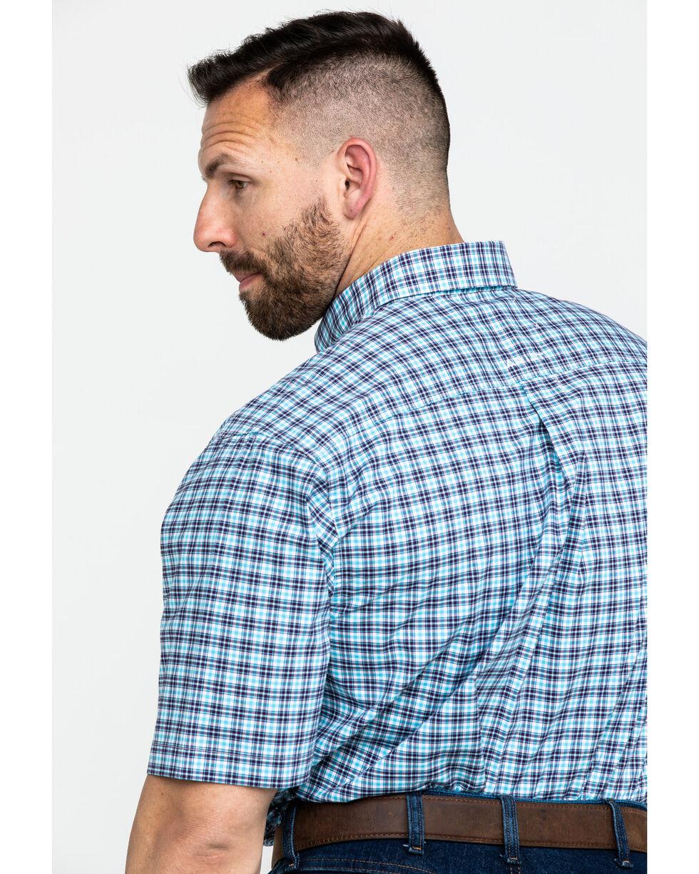 Ariat Men's Milos Stretch Small Plaid Short Sleeve Western Shirt - Big & Tall, Purple, hi-res