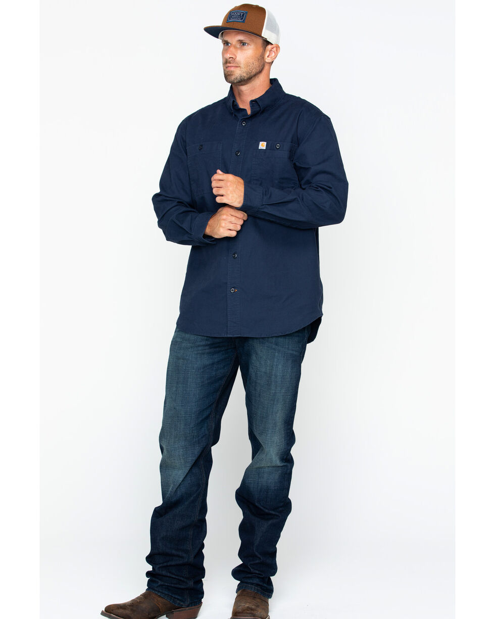 Carhartt Men's Rugged Flex Rigby Work Shirt, Navy, hi-res