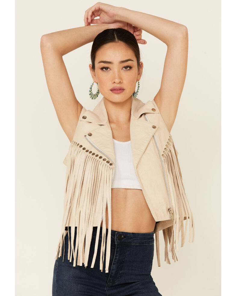 Understated Leather Women's Tan Leather Peace Zip-Front Vest, Cream, hi-res