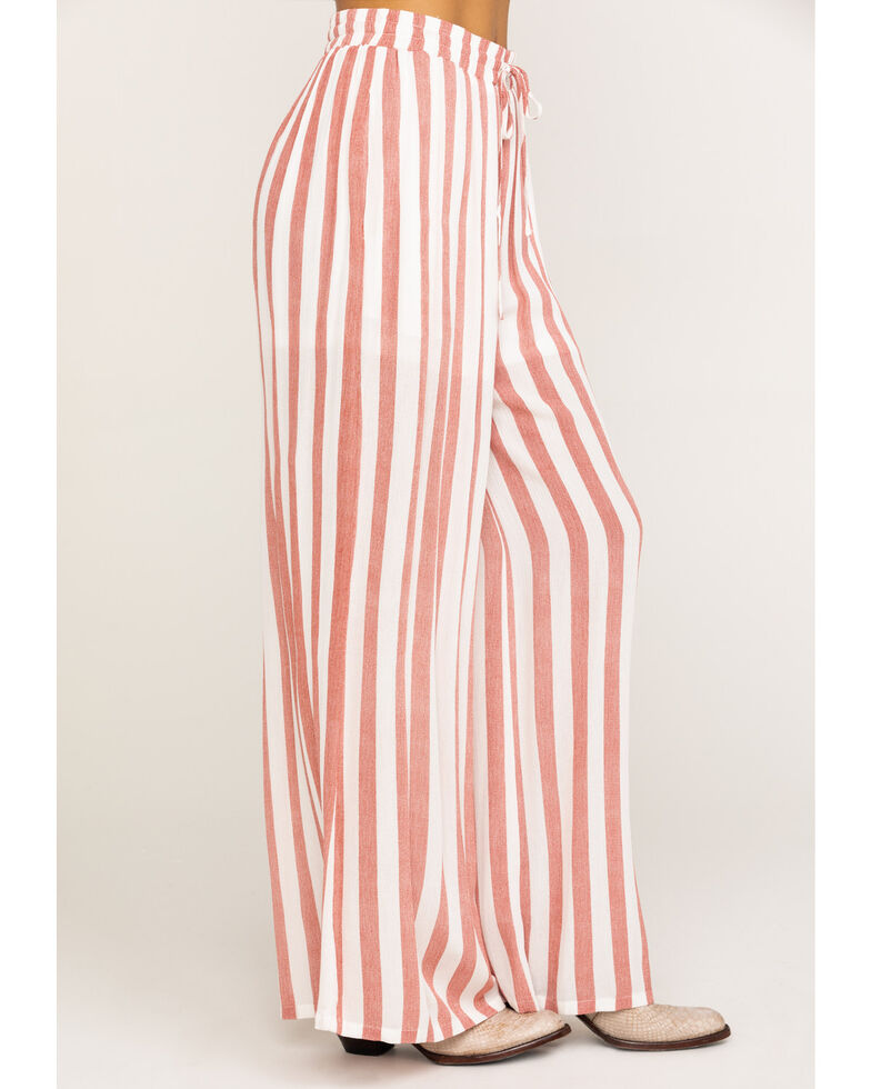 Rock & Roll Cowgirl Women's Stripe Wide Leg Pants, Red, hi-res