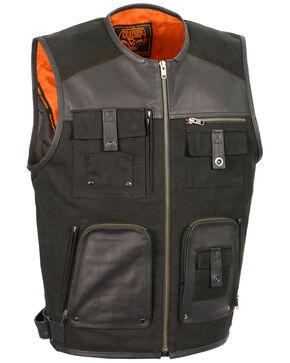 Milwaukee Leather Men's Leather & Canvas Zipper Front Super Utility Multi Pocket Vest, Black, hi-res