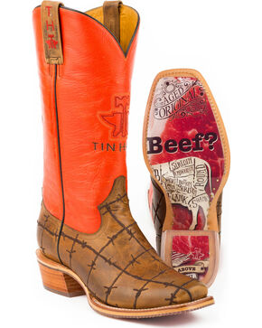 Tin Haul Men's Barbwire Western Boots, Tan, hi-res