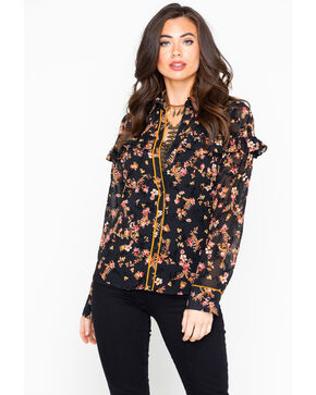 Tempted Women's Floral Print Button Long Sleeve Western Shirt , Black, hi-res