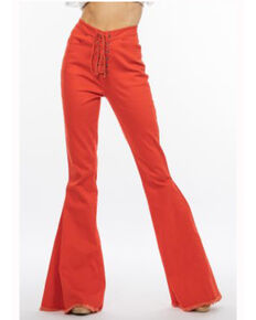 Chrysanthemum Women's Red Lace Up High Rise Flare Jeans, Red, hi-res