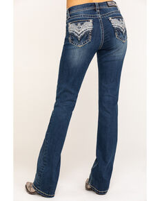 "Grace in LA Women's Embellished Medium 34"" Bootcut Jeans, Blue, hi-res"