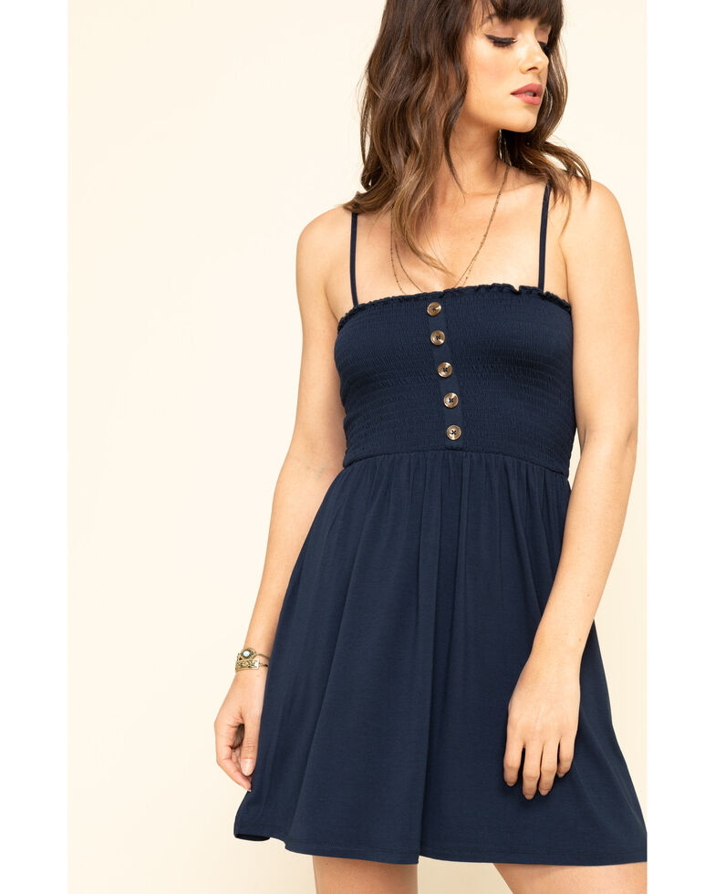 Others Follow Women's Navy Smocked Bodice Lovestone Dress, Navy, hi-res