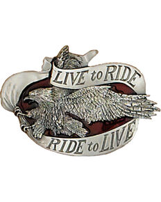 Western Express Men's Silver Live To Ride Belt Buckle , Silver, hi-res