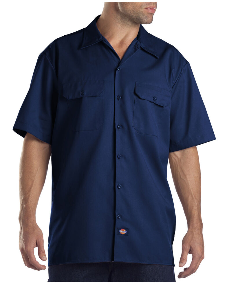 Dickies Men's Short Sleeve Work Shirt, Dark Blue, hi-res
