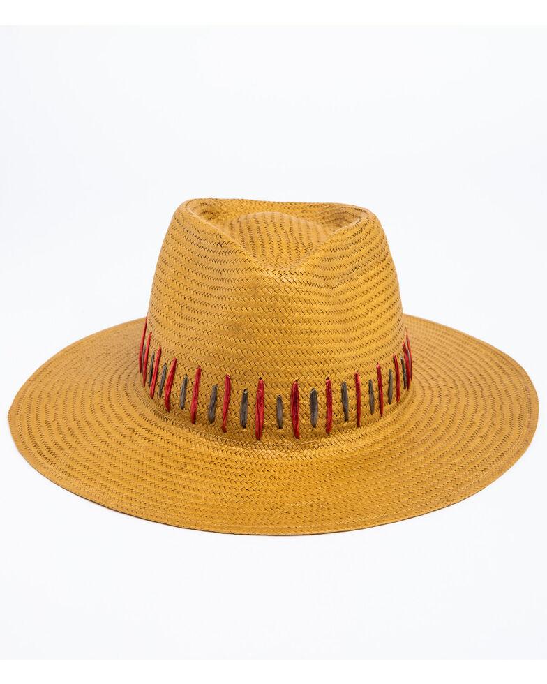 Nikki Beach Women's Brown Raine Panama Fedora Straw Hat , Brown, hi-res