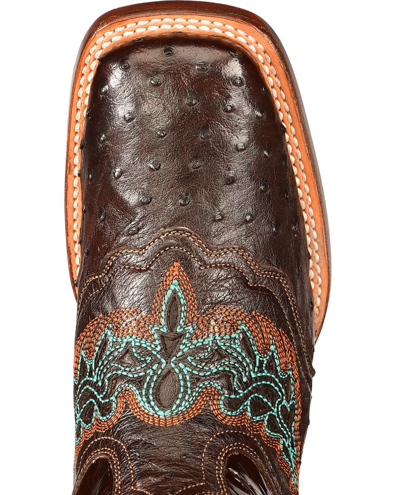Lucchese Women's Handmade Chocolate Amberlyn Full Quill Ostrich Boots - Square Toe , Chocolate, hi-res