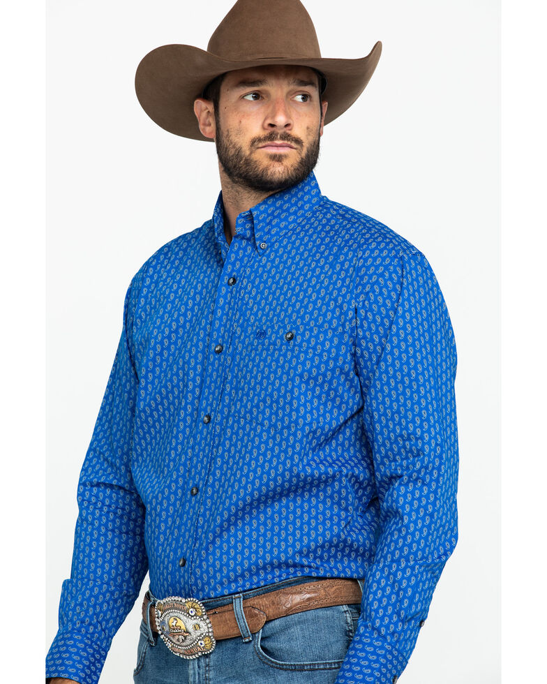 Wrangler Men's Classic Royal Blue Geo Print Long Sleeve Western Shirt , Blue, hi-res