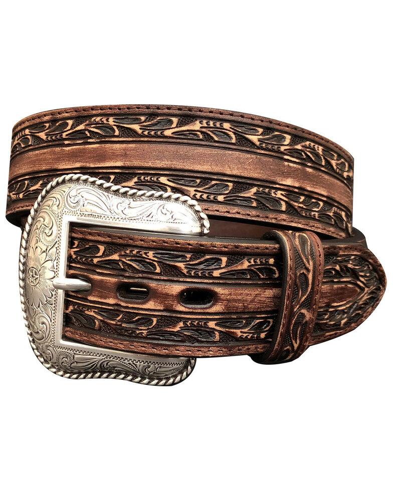 Roper Men's Brown Leather Embossed Buckle Belt , Distressed Brown, hi-res