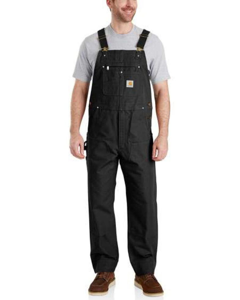 Carhartt Men's Black Duck Bib Work Overalls  - Big , Black, hi-res