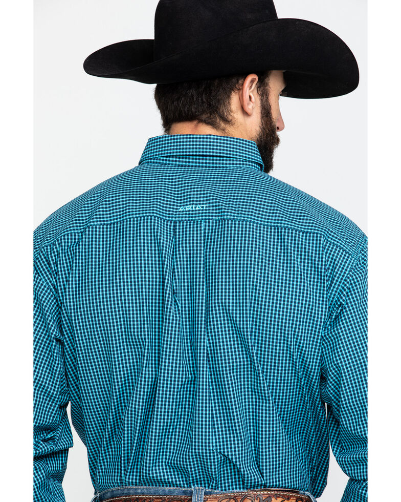 Ariat Men's Theo Small Plaid Long Sleeve Western Shirt - Big , Blue, hi-res
