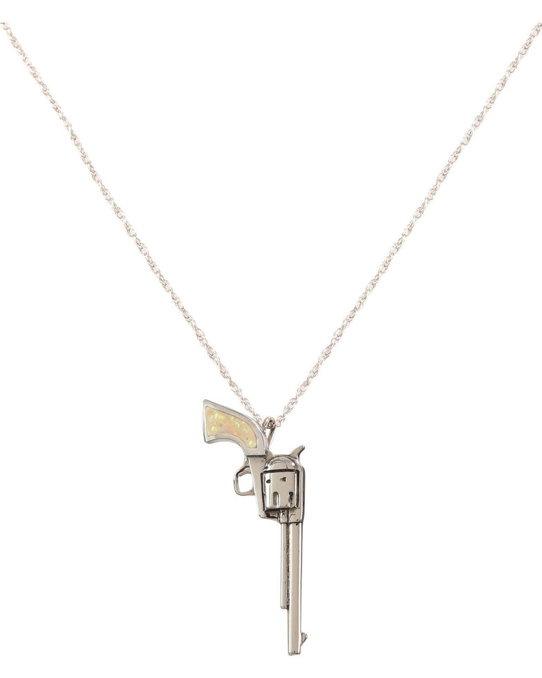 Silver Legends Women's Long Barrel Pistol Necklace , White, hi-res