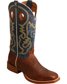 Twisted X Men's Ruff Stock Elephant Print Cowboy Boots - Square Toe, Cognac, hi-res