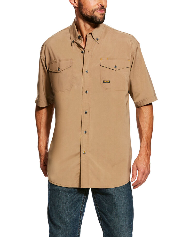 Ariat Men's Rebar Made Tough Vent Short Sleeve Work Shirt - Tall , Beige/khaki, hi-res