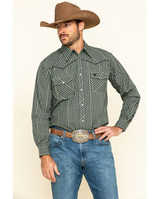 Cowboy Hardware Men's Green Rake Plaid Long Sleeve Western Shirt , Green, hi-res