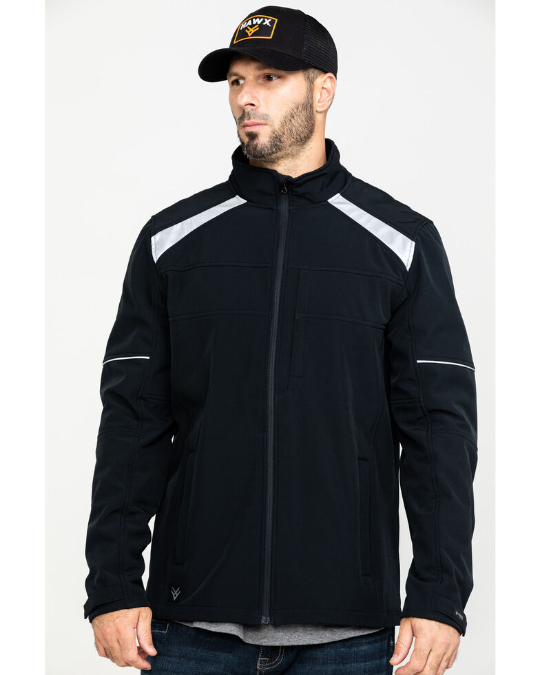 Hawx Men's Black Reflective Polar Fleece Moto Work Jacket , Black, hi-res