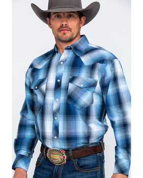 Resistol Men's Everglades Large Plaid Long Sleeve Western Shirt , Blue, hi-res