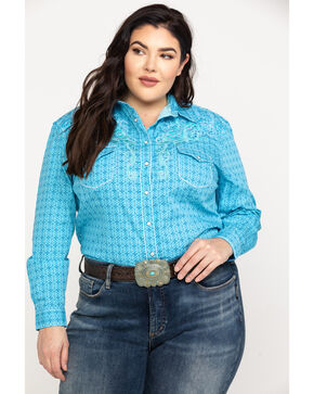 Rough Stock by Panhandle Women's Narodini Antique Print Long Sleeve Western Top - Plus, Light Blue, hi-res