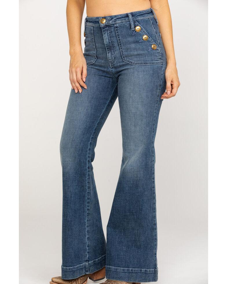 Show Me Your Mumu Women's Farrah Button Trouser , Blue, hi-res