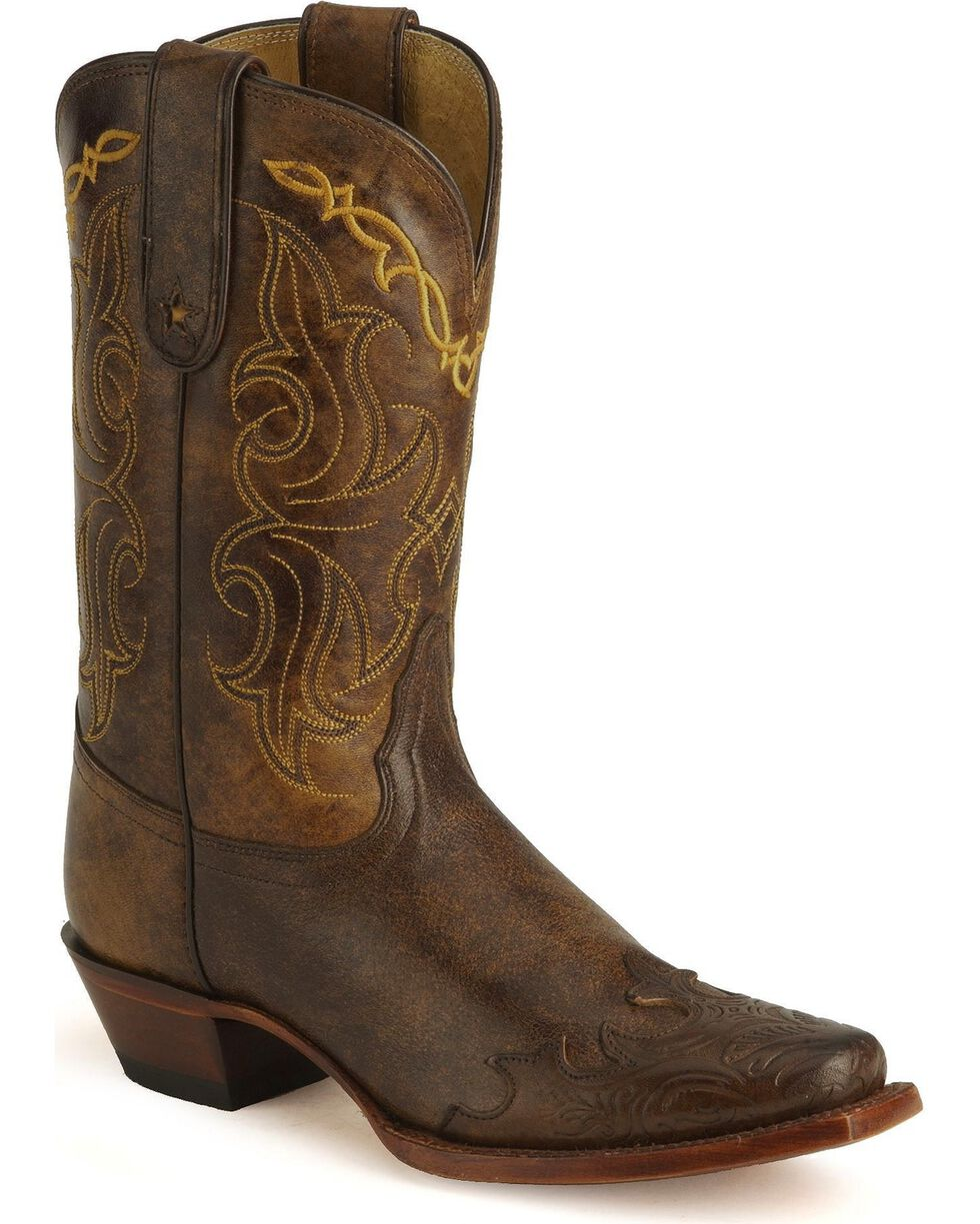 Tony Lama Women's 100% Vaquero Square Toe Wingtip Boots, Bark, hi-res