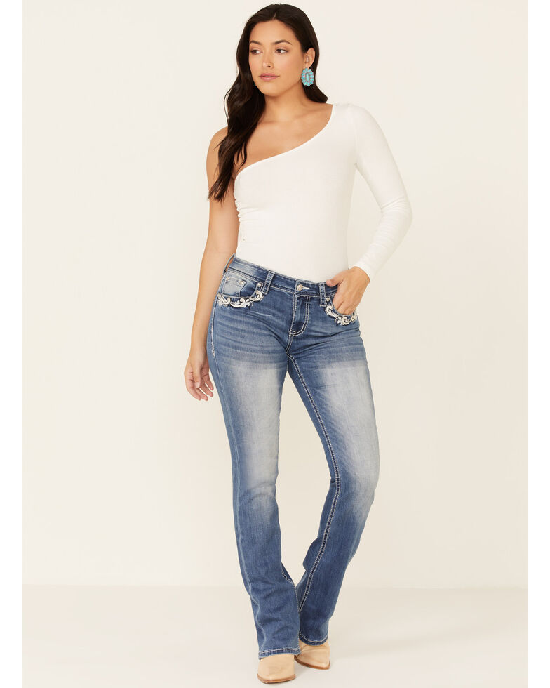 Grace in LA Women's Ornate Bootcut Jeans, Blue, hi-res