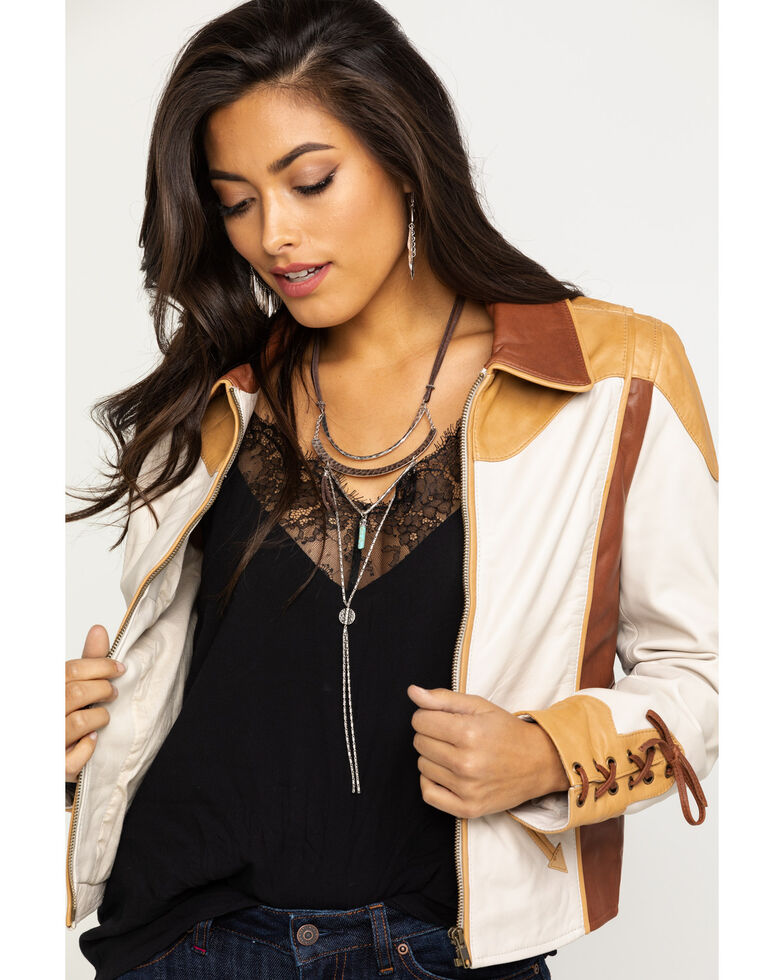 Idyllwind Women's Truly Western Leather Jacket, Tan, hi-res