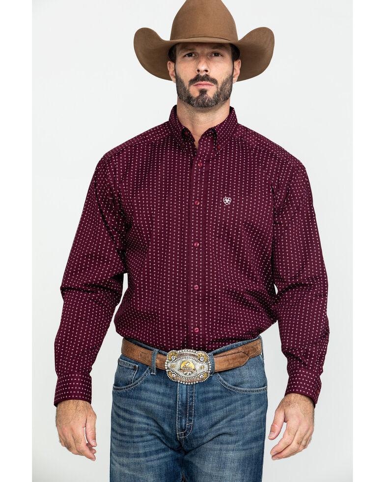 Ariat Men's Frostburg Small Geo Print Long Sleeve Western Shirt - Big , Burgundy, hi-res