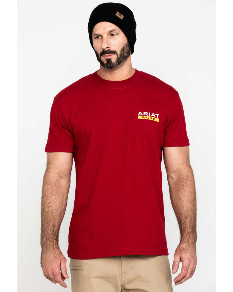 Ariat Men's Red Rebar Cotton Strong Roughneck Graphic Work T-Shirt , Red, hi-res
