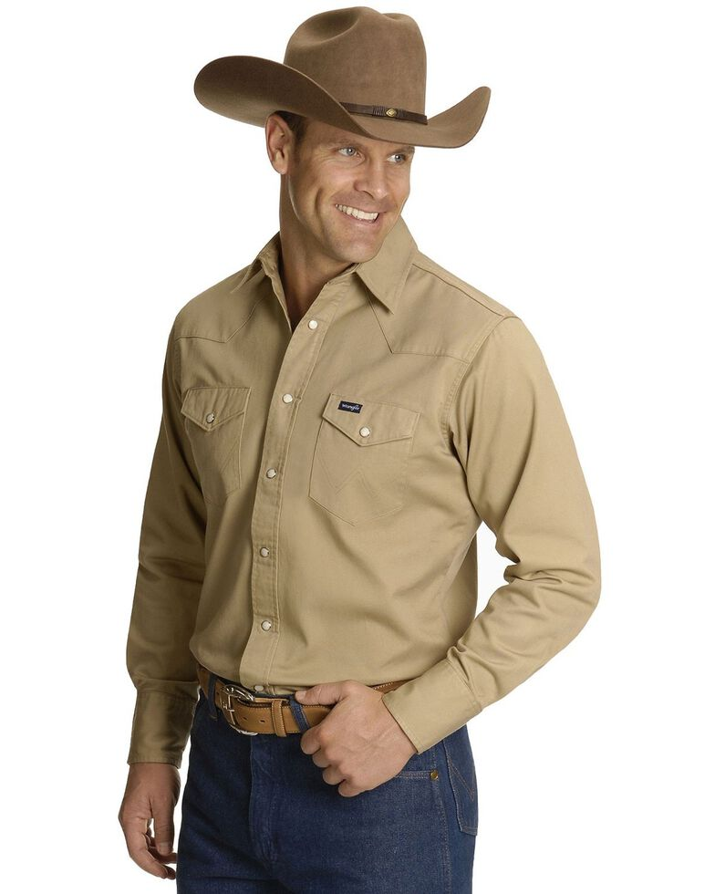 Wrangler Men's Solid Cowboy Cut Firm Finish Long Sleeve Work Shirt, Khaki, hi-res