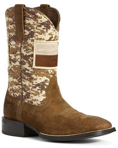 Ariat Men's Sport Patriot Texas Flag Western Boots - Wide Square Toe, Brown, hi-res