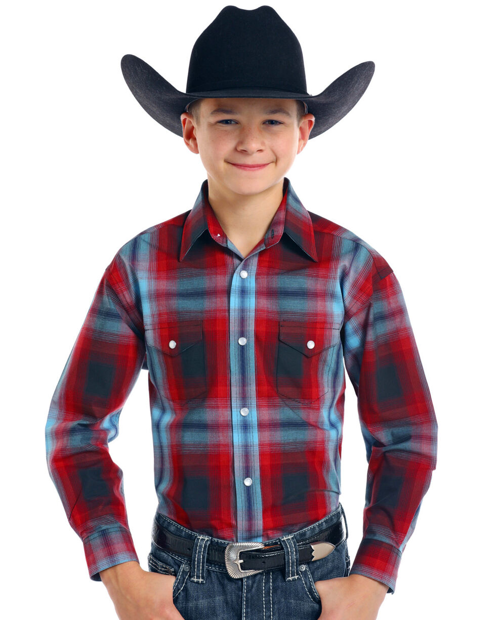 Rough Stock by Panhandle Boys' Aldine Vintage Ombre Plaid Long Sleeve Snap Shirt, Red, hi-res