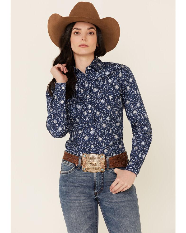 Rough Stock By Panhandle Women's Aztec Geo Print Long Sleeve Snap Western Core Shirt , Navy, hi-res