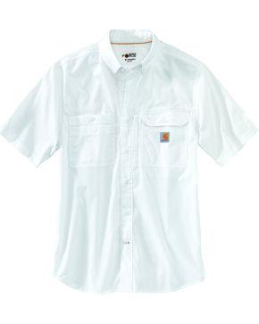 Carhartt Force Men's Blue Ridgefield Solid Short Sleeve Shirt, White, hi-res