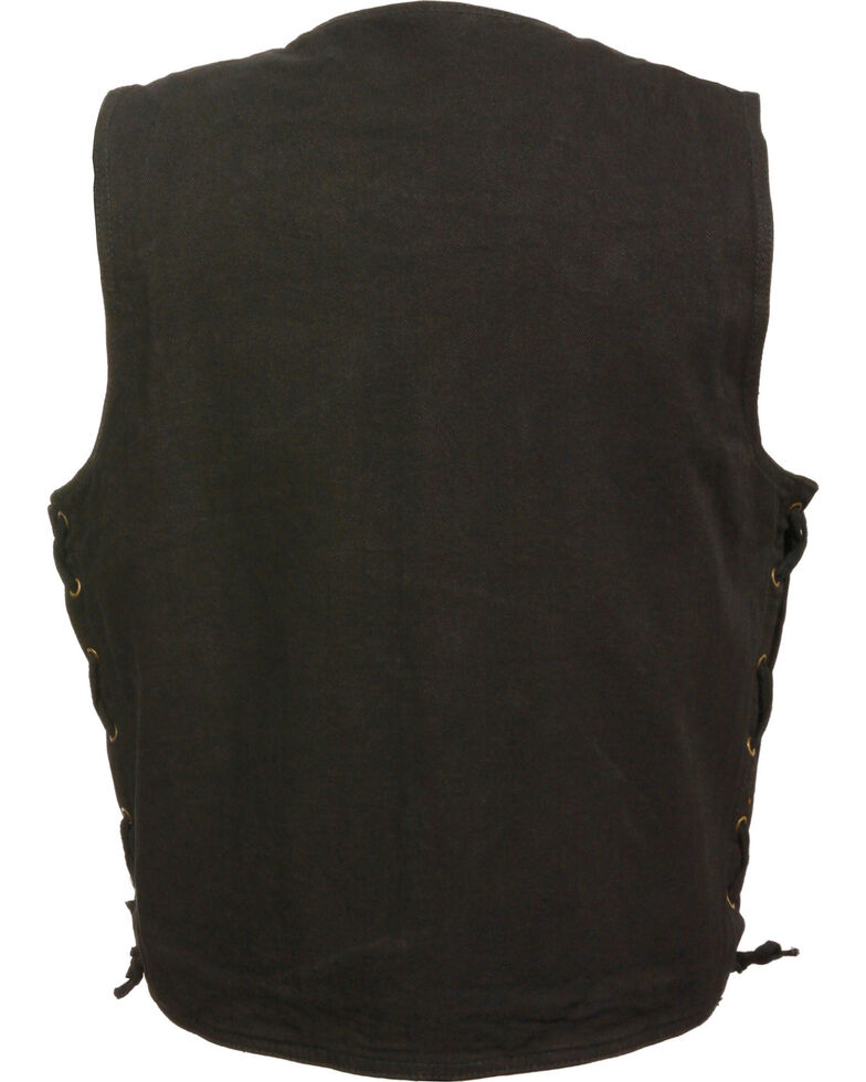 Milwaukee Leather Men's Side Lace Denim Vest w/ Chest Pockets, Black, hi-res