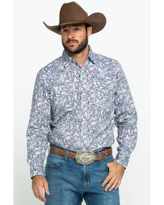 Wrangler 20X Men's Advanced Comfort Purple Paisley Print Long Sleeve Western Shirt , Purple, hi-res